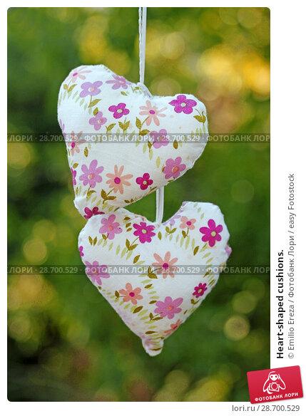 Купить «Heart-shaped cushions.», фото № 28700529, снято 5 октября 2017 г. (c) easy Fotostock / Фотобанк Лори