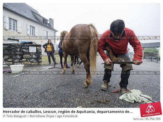 Herrador de caballos, Lescun, región de Aquitania, departamento de... (2019 год). Редакционное фото, фотограф Tolo Balaguer / age Fotostock / Фотобанк Лори