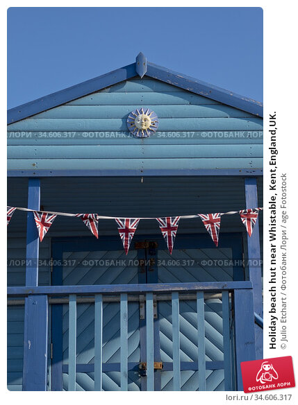 Holiday beach hut near Whistable, Kent,England,UK. (2018 год). Редакционное фото, фотограф Julio Etchart / age Fotostock / Фотобанк Лори