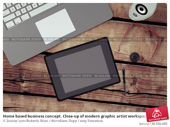 Home based business concept. Close-up of modern graphic artist workspace... Стоковое фото, фотограф Zoonar.com/Roberto Rizzo / easy Fotostock / Фотобанк Лори