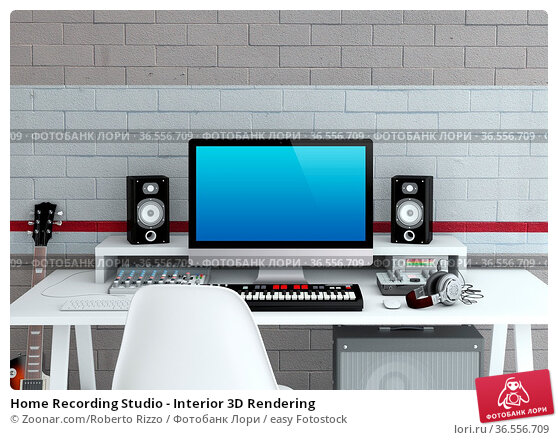 Home Recording Studio - Interior 3D Rendering. Стоковое фото, фотограф Zoonar.com/Roberto Rizzo / easy Fotostock / Фотобанк Лори