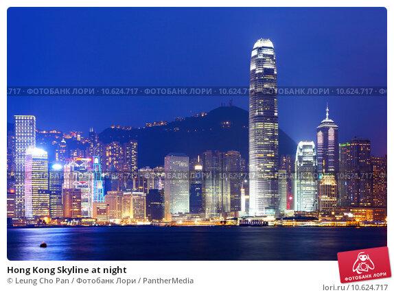 Hong Kong Skyline at night. Стоковое фото, фотограф Leung Cho Pan / PantherMedia / Фотобанк Лори