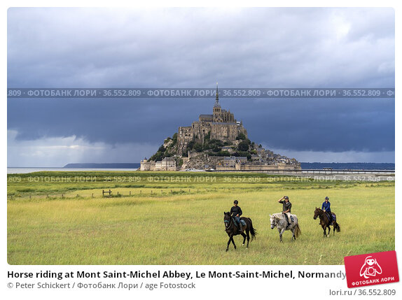 Horse riding at Mont Saint-Michel Abbey, Le Mont-Saint-Michel, Normandy... Редакционное фото, фотограф Peter Schickert / age Fotostock / Фотобанк Лори
