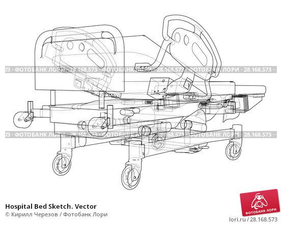 Купить «Hospital Bed Sketch. Vector», иллюстрация № 28168573 (c) Кирилл Черезов / Фотобанк Лори