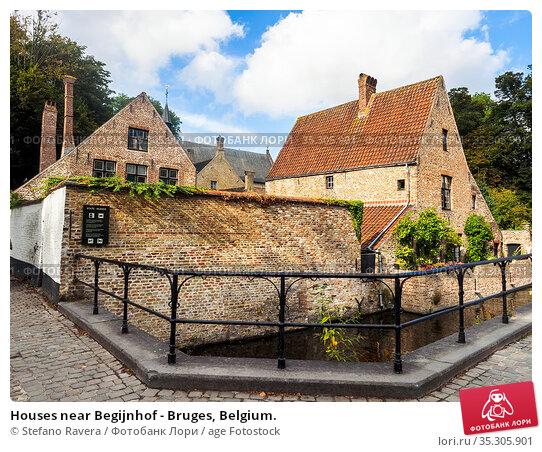 Houses near Begijnhof - Bruges, Belgium. Стоковое фото, фотограф Stefano Ravera / age Fotostock / Фотобанк Лори