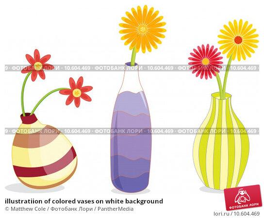 illustratiion of colored vases on white background. Стоковая иллюстрация, иллюстратор Matthew Cole / PantherMedia / Фотобанк Лори