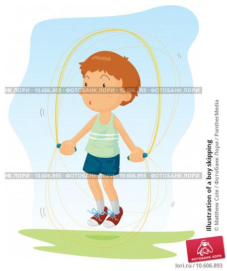 Illustration of a boy skipping. Стоковая иллюстрация, иллюстратор Matthew Cole / PantherMedia / Фотобанк Лори