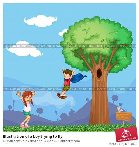 Illustration of a boy trying to fly. Стоковая иллюстрация, иллюстратор Matthew Cole / PantherMedia / Фотобанк Лори