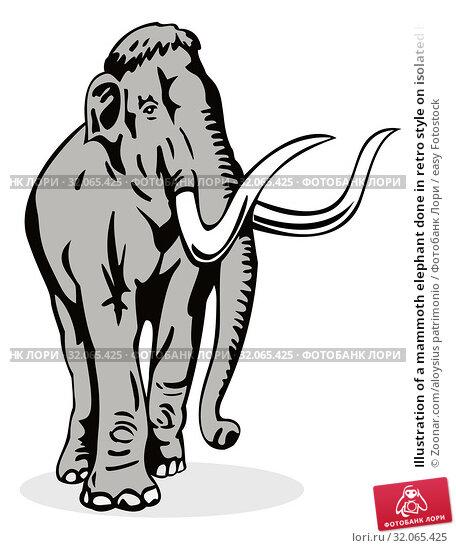 Illustration of a mammoth elephant done in retro style on isolated background. Стоковое фото, фотограф Zoonar.com/aloysius patrimonio / easy Fotostock / Фотобанк Лори