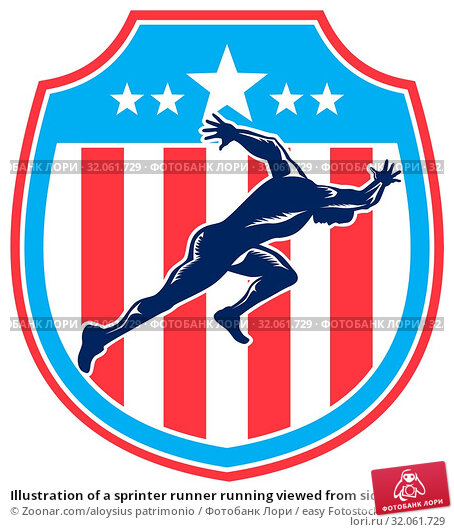 Illustration of a sprinter runner running viewed from side set inside shield crest with american stars and stripes in the background done in retro woodcut style. Стоковое фото, фотограф Zoonar.com/aloysius patrimonio / easy Fotostock / Фотобанк Лори
