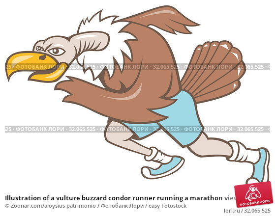 Illustration of a vulture buzzard condor runner running a marathon viewed from side on isolated white background done in cartoon style. Стоковое фото, фотограф Zoonar.com/aloysius patrimonio / easy Fotostock / Фотобанк Лори
