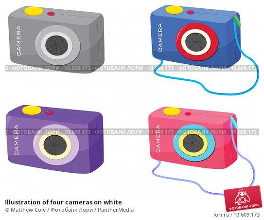 Illustration of four cameras on white. Стоковая иллюстрация, иллюстратор Matthew Cole / PantherMedia / Фотобанк Лори