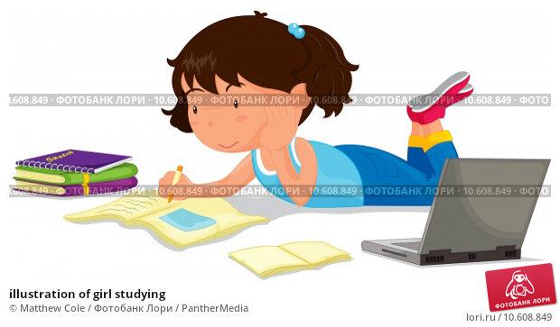 illustration of girl studying. Стоковая иллюстрация, иллюстратор Matthew Cole / PantherMedia / Фотобанк Лори