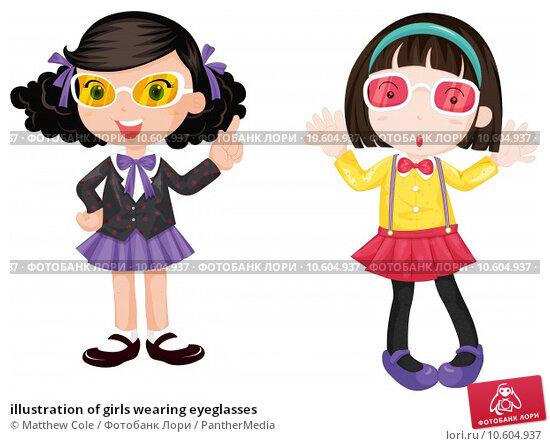 illustration of girls wearing eyeglasses. Стоковая иллюстрация, иллюстратор Matthew Cole / PantherMedia / Фотобанк Лори