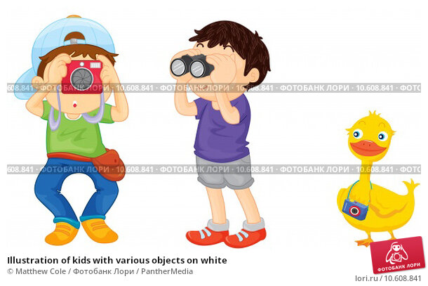 Illustration of kids with various objects on white. Стоковая иллюстрация, иллюстратор Matthew Cole / PantherMedia / Фотобанк Лори