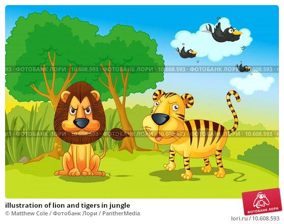 illustration of lion and tigers in jungle. Стоковая иллюстрация, иллюстратор Matthew Cole / PantherMedia / Фотобанк Лори