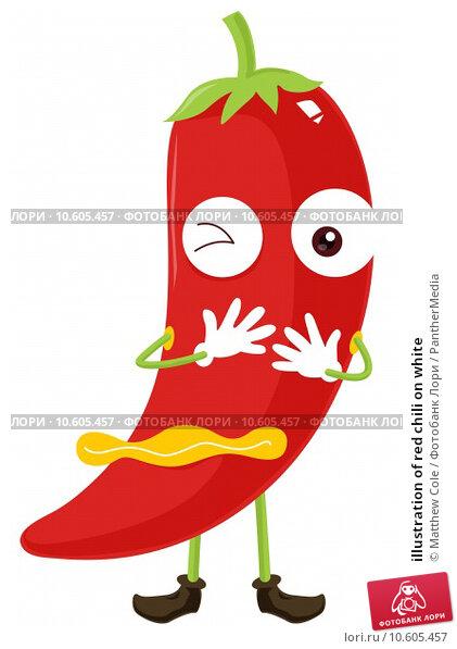 illustration of red chili on white. Стоковая иллюстрация, иллюстратор Matthew Cole / PantherMedia / Фотобанк Лори