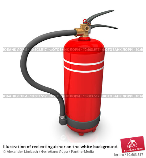 Illustration of red extinguisher on the white background. Стоковое фото, фотограф Alexander Limbach / PantherMedia / Фотобанк Лори