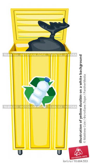 illustration of yellow dustbin on a white background. Стоковая иллюстрация, иллюстратор Matthew Cole / PantherMedia / Фотобанк Лори