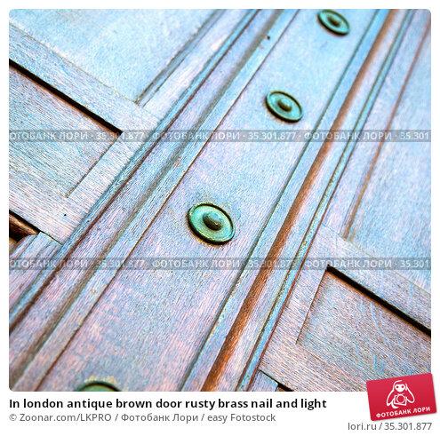 In london antique brown door rusty brass nail and light. Стоковое фото, фотограф Zoonar.com/LKPRO / easy Fotostock / Фотобанк Лори