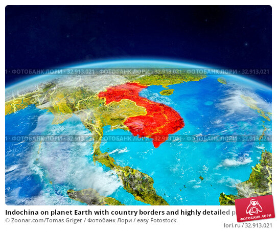 Indochina on planet Earth with country borders and highly detailed planet surface and clouds. 3D illustration. Elements of this image furnished by NASA. Стоковое фото, фотограф Zoonar.com/Tomas Griger / easy Fotostock / Фотобанк Лори