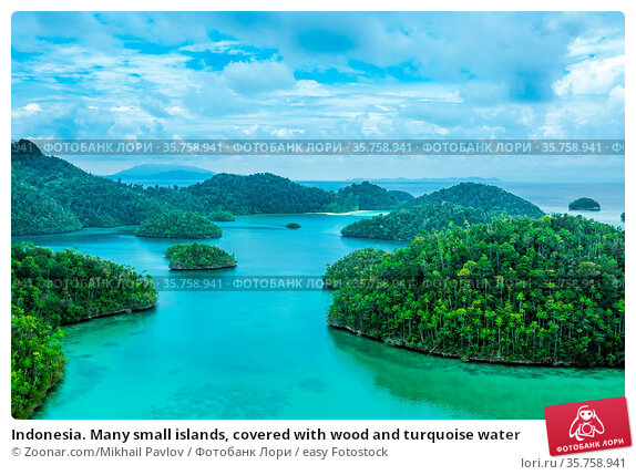 Indonesia. Many small islands, covered with wood and turquoise water. Стоковое фото, фотограф Zoonar.com/Mikhail Pavlov / easy Fotostock / Фотобанк Лори