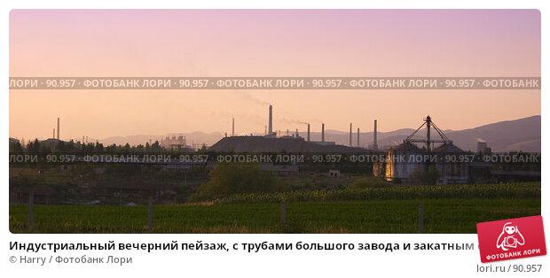 Индустриальный вечерний пейзаж, с трубами большого завода и закатным солнцем, фото № 90957, снято 17 августа 2007 г. (c) Harry / Фотобанк Лори