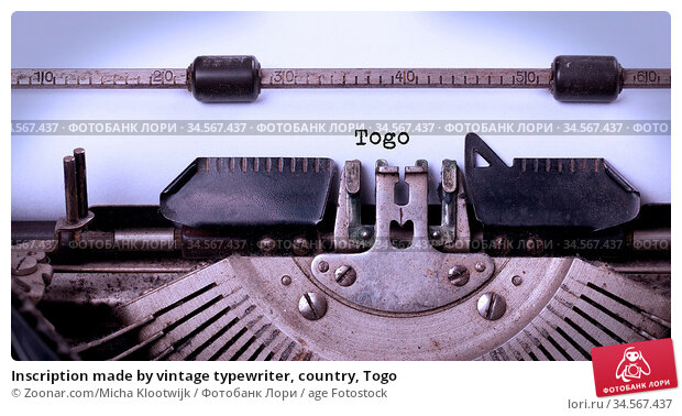 Inscription made by vintage typewriter, country, Togo. Стоковое фото, фотограф Zoonar.com/Micha Klootwijk / age Fotostock / Фотобанк Лори