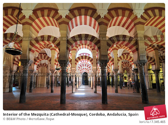 Купить «Interior of the Mezquita (Cathedral-Mosque), Cordoba, Andalucia, Spain», фото № 7345465, снято 21 июня 2019 г. (c) BE&W Photo / Фотобанк Лори