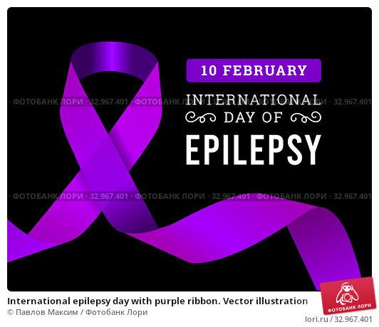 International epilepsy day with purple ribbon. Vector illustration. Стоковая иллюстрация, иллюстратор Павлов Максим / Фотобанк Лори