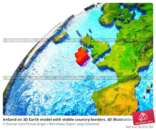 Ireland on 3D Earth model with visible country borders. 3D illustration. Стоковое фото, фотограф Zoonar.com/Tomas Griger / easy Fotostock / Фотобанк Лори