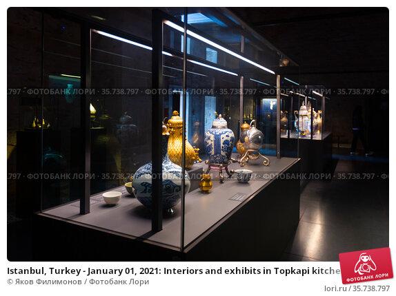 Istanbul, Turkey - January 01, 2021: Interiors and exhibits in Topkapi kitchen pavilions of the Archaeological Museum. Редакционное фото, фотограф Яков Филимонов / Фотобанк Лори