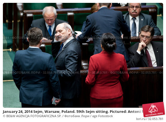 January 24, 2014 Sejm, Warsaw, Poland. 59th Sejm sitting. Pictured: Antoni Macierewicz, Marek Kuchcinski. Редакционное фото, фотограф BE&W AGENCJA FOTOGRAFICZNA SP. / age Fotostock / Фотобанк Лори