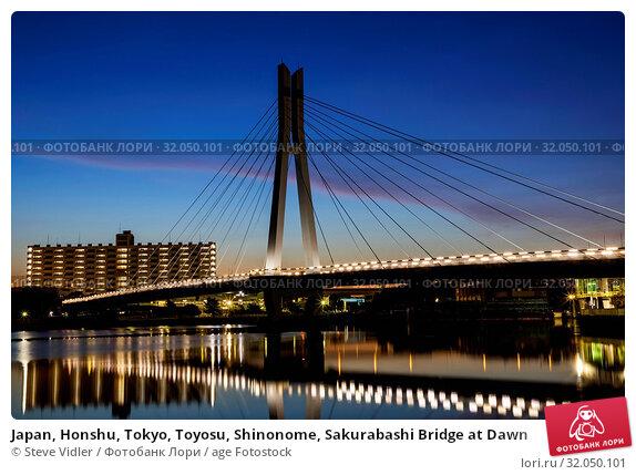 Japan, Honshu, Tokyo, Toyosu, Shinonome, Sakurabashi Bridge at Dawn. Стоковое фото, фотограф Steve Vidler / age Fotostock / Фотобанк Лори