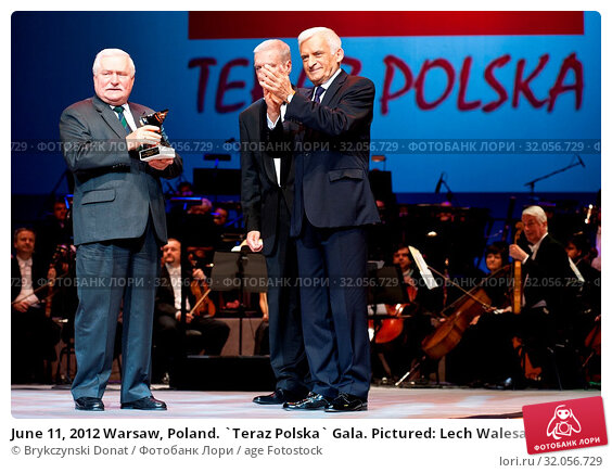 June 11, 2012 Warsaw, Poland. `Teraz Polska` Gala. Pictured: Lech Walesa and Jerzy Buzek. Редакционное фото, фотограф Brykczynski Donat / age Fotostock / Фотобанк Лори