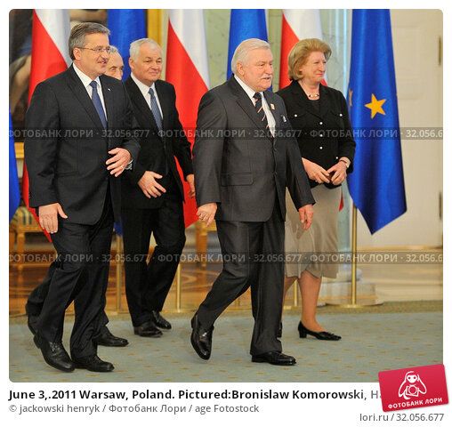 June 3,.2011 Warsaw, Poland. Pictured:Bronislaw Komorowski, Hanna Suchocka, Jan Krzysztof Bielecki, Lech Walesa (President of Poland between 1990 and 1995, Nobel Prize in 1983) Редакционное фото, фотограф jackowski henryk / age Fotostock / Фотобанк Лори