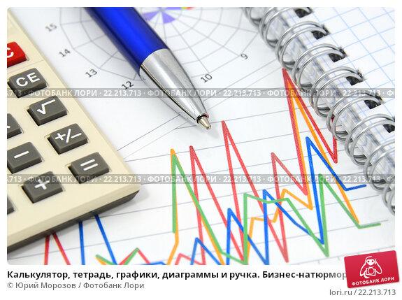 Купить «Калькулятор, тетрадь, графики, диаграммы и ручка. Бизнес-натюрморт», эксклюзивное фото № 22213713, снято 14 марта 2016 г. (c) Юрий Морозов / Фотобанк Лори