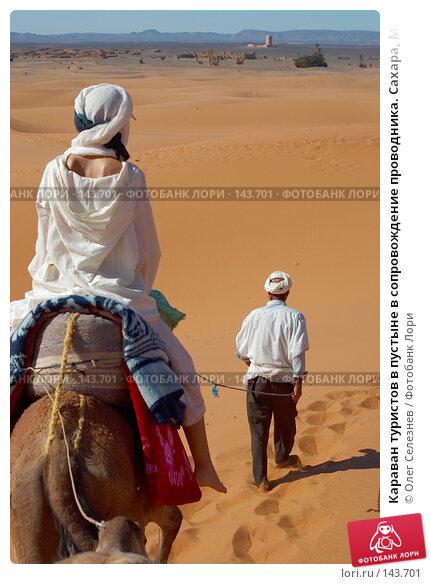 Караван туристов в пустыне в сопровождение проводника. Сахара, Марокко., фото № 143701, снято 15 января 2017 г. (c) Олег Селезнев / Фотобанк Лори