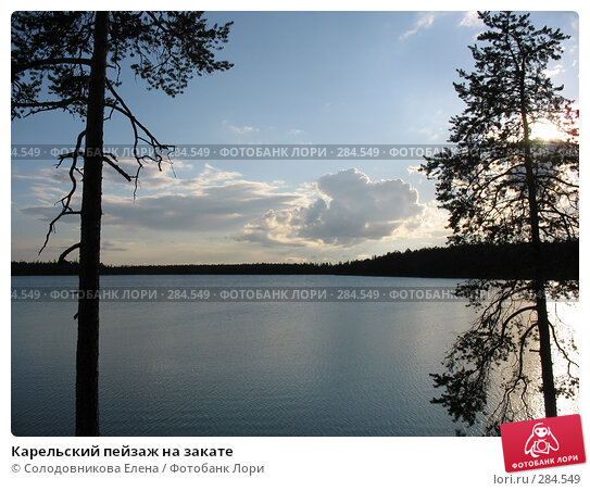 Карельский пейзаж на закате, фото № 284549, снято 29 июля 2007 г. (c) Солодовникова Елена / Фотобанк Лори