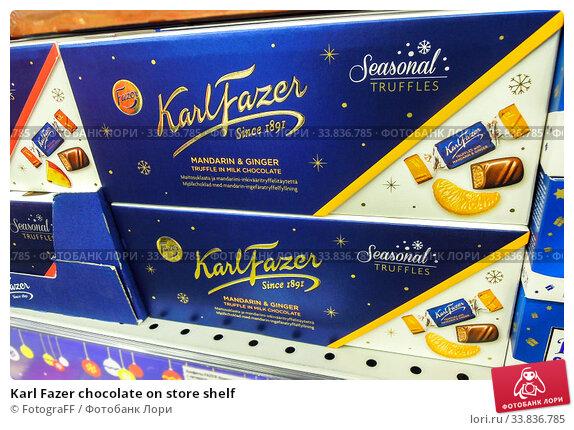 Купить «Karl Fazer chocolate on store shelf», фото № 33836785, снято 29 декабря 2019 г. (c) FotograFF / Фотобанк Лори