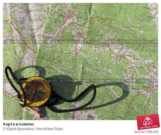 Карта и компас, фото № 169333, снято 30 марта 2017 г. (c) Юрий Брыкайло / Фотобанк Лори