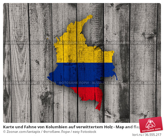 Karte und Fahne von Kolumbien auf verwittertem Holz - Map and flag... Стоковое фото, фотограф Zoonar.com/lantapix / easy Fotostock / Фотобанк Лори