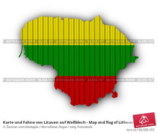 Karte und Fahne von Litauen auf Wellblech - Map and flag of Lithuania... Стоковое фото, фотограф Zoonar.com/lantapix / easy Fotostock / Фотобанк Лори