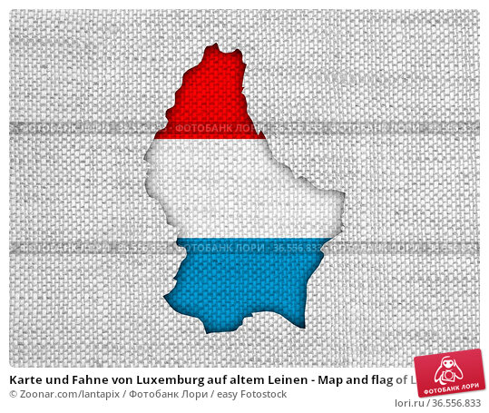 Karte und Fahne von Luxemburg auf altem Leinen - Map and flag of Luxembourg... Стоковое фото, фотограф Zoonar.com/lantapix / easy Fotostock / Фотобанк Лори