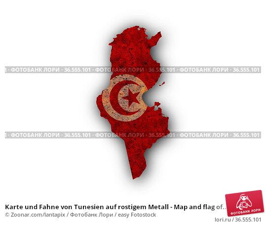 Karte und Fahne von Tunesien auf rostigem Metall - Map and flag of... Стоковое фото, фотограф Zoonar.com/lantapix / easy Fotostock / Фотобанк Лори