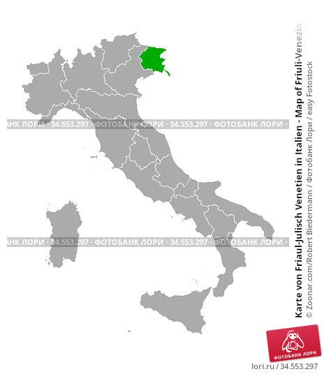 Karte von Friaul-Julisch Venetien in Italien - Map of Friuli-Venezia... Стоковое фото, фотограф Zoonar.com/Robert Biedermann / easy Fotostock / Фотобанк Лори