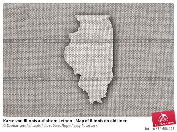 Karte von Illinois auf altem Leinen - Map of Illinois on old linen. Стоковое фото, фотограф Zoonar.com/lantapix / easy Fotostock / Фотобанк Лори