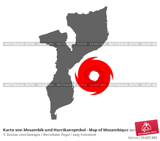 Karte von Mosambik und Hurrikansymbol - Map of Mozambique and hurricane... Стоковое фото, фотограф Zoonar.com/lantapix / easy Fotostock / Фотобанк Лори
