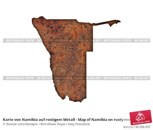 Karte von Namibia auf rostigem Metall - Map of Namibia on rusty metal. Стоковое фото, фотограф Zoonar.com/lantapix / easy Fotostock / Фотобанк Лори