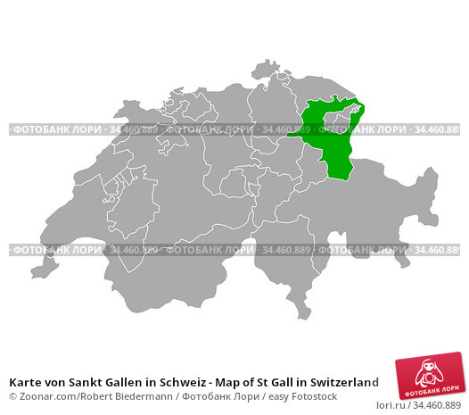 Karte von Sankt Gallen in Schweiz - Map of St Gall in Switzerland. Стоковое фото, фотограф Zoonar.com/Robert Biedermann / easy Fotostock / Фотобанк Лори
